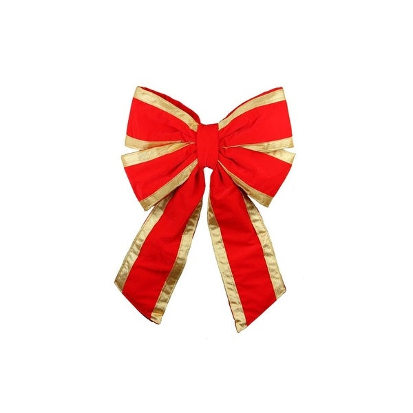 """20"""" Commercial Structural 4-Loop Red and Gold UV Treated Outdoor Christmas Bow"""