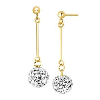 Crystal Elongated Ball Drop Earrings in 14K Gold