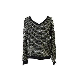 Sanctuary Long-Sleeve V-Neck Marled-Knit Black M M