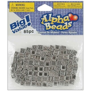 Alphabet Beads 6mm 85/Pkg-Silver-Plated - Silver