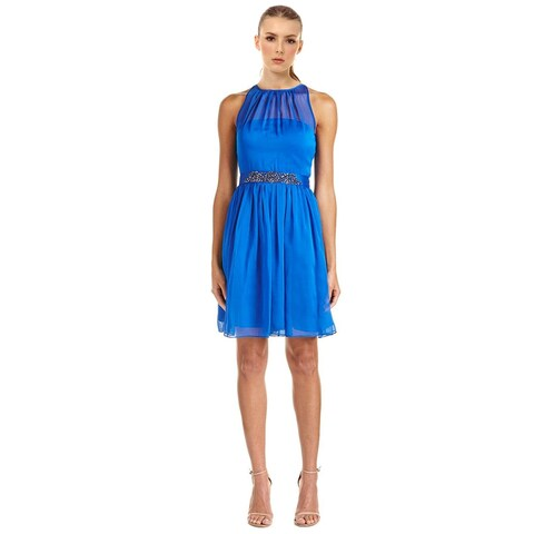 Adrianna Papell Belted Chiffon Halter Cocktail Dress Royal Blue