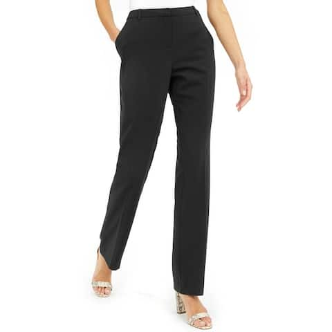 Alfani Womens Tummy Control Straight-Leg Pants Deep Black