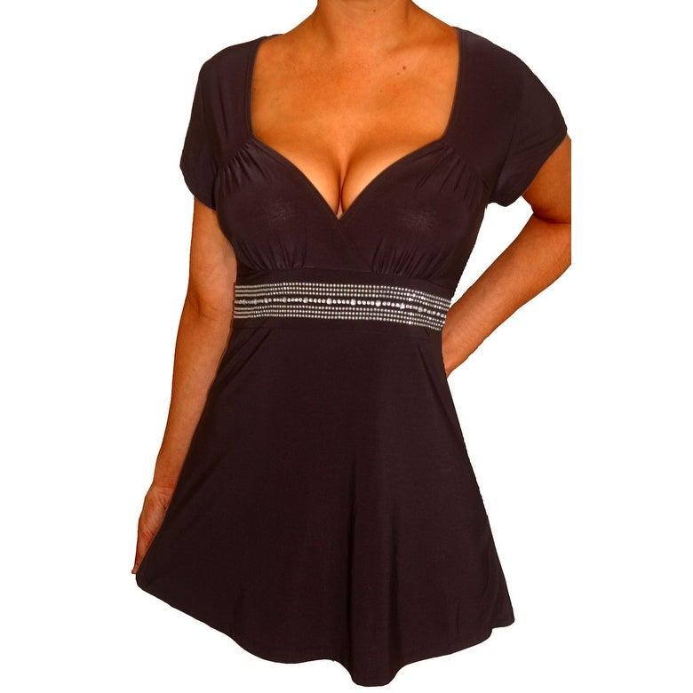 Funfash Plus Size Black Rhinestones Empire Waist Womens Plus Size Top Shirt - Thumbnail 0