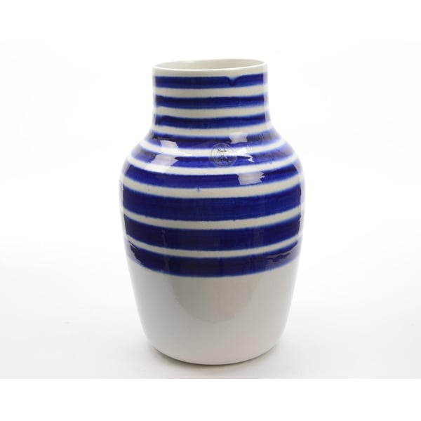 "14"" Seaside Treasures Decorative White Vase with True Blue Stripes"