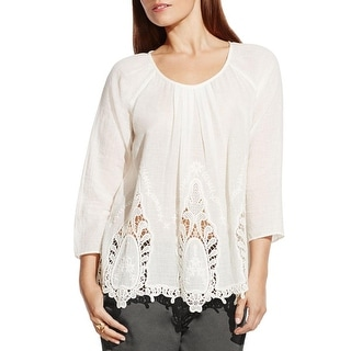 Two by Vince Camuto Womens Blouse Crochet Front Pleated
