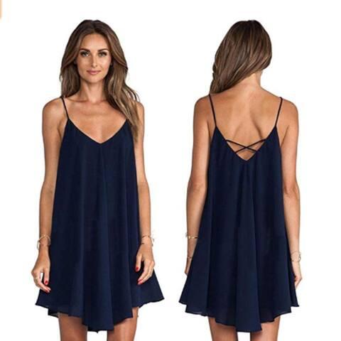 Sexy V-Neck Dress Fashion Women Backless Cross Bandage Short Club Dress