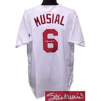 Stan Musial signed St Louis Cardinals White TB Authentic Russell Athletic Jersey XL Beckett Hologra