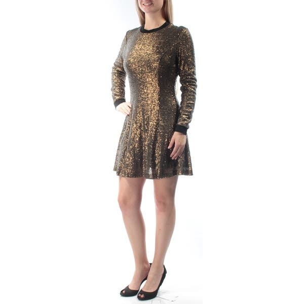 40afc5b070 Womens Gold Long Sleeve Mini Fit + Flare Party Dress Size  8. Image Gallery