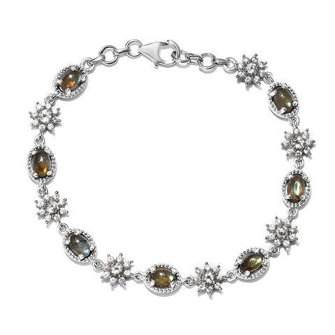 925 Silver Labradorite White Topaz Bracelet Size 7.25 In Ct 5.9 - Bracelet 7.25''