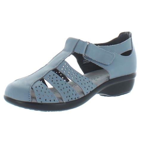 Propet Womens April Fisherman Sandals Leather Casual - Denim - 7.5 Medium (B,M)
