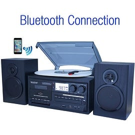 Boytone BT-28SPB, Bluetooth Classic Style Record Player Turntable with AM/FM Radio, Cassette Player, CD Player, 2 Separate Stere