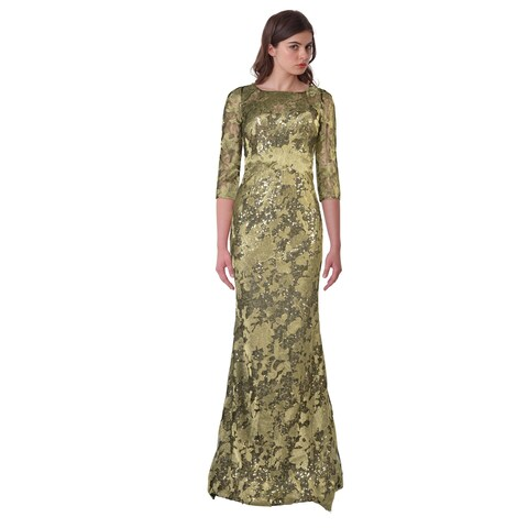 Rene Ruiz Sequined Lace Illusion Three Quarter Sleeve Evening Gown Dress Gold/Black