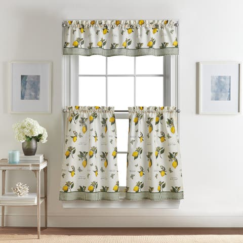 """Vintage Lemon 3-piece Kitchen Curtain Tier and Valance Set - 1-Valance And 2-36"""" Tiers"""