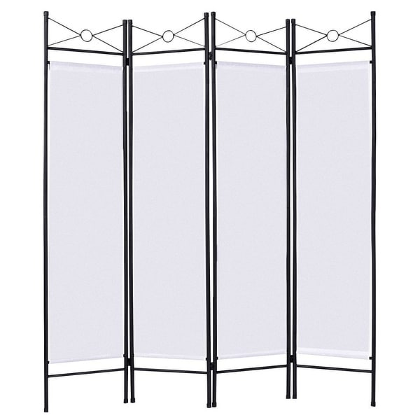 4 Panels Metal Frame Room Private Folding Screen - White. Opens flyout.