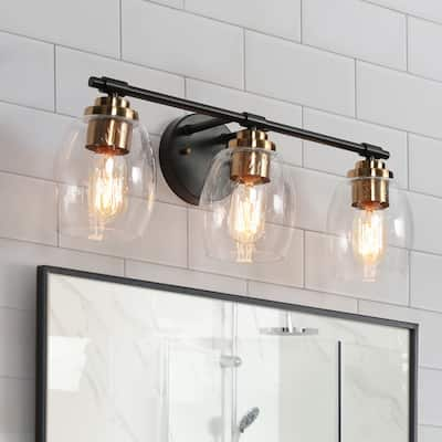 """Modern 3-light Black Vanity Bathroom Light with Seeded Glass Shades - Black and Gold - L 20""""x W 6.5""""x H 7.9"""""""