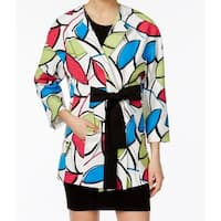 Nine West NEW White Women's Size 4 Geometric-Print Belted Jacket