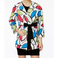 Nine West NEW White Women's Size 8 Geometric-Print Belted Jacket