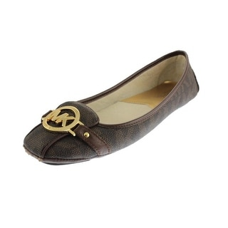 MICHAEL Michael Kors Womens Fulton Faux Leather Embellished Ballet Flats - 9.5 medium (b,m)