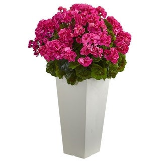 """Nearly Natural 27""""UV Resistant Geranium Artificial Plant and White Planter"""