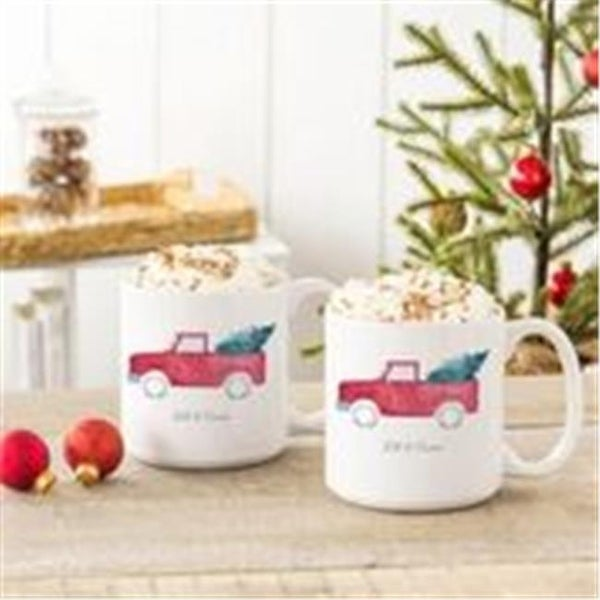 20 Oz Christmas Tree Truck Large Coffee Mugs Set Of 2