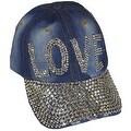 Love Sparkling Bedazzled Studded Baseball Cap Hat, Denim, Light Blue - Thumbnail 0