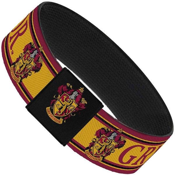 """Gryffindor Crest Stripe4 Gold Burgundy Elastic Bracelet 1.0"""" Wide"""