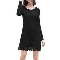67d9419f8f08d Shop Allegra K Women Scoop Neck Long Sleeves Color Block Mini Dress ...