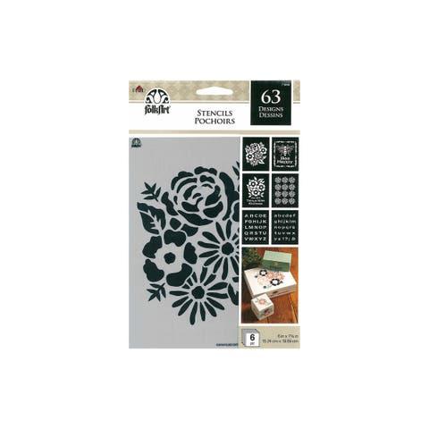 71968 plaid folkart stencil 6x7 75 vp floral traditn 6pc