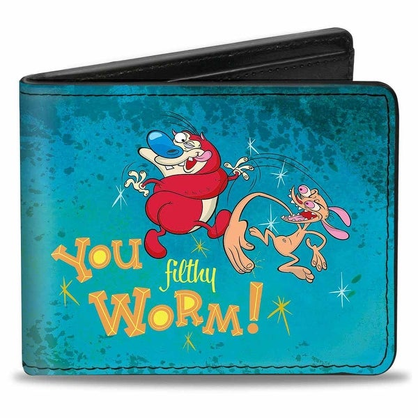 Ren Slapping Stimpy You Filthy Worm! Bi Fold Wallet - One Size Fits most