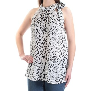 Womens Black, White Animal Print Sleeveless Tie Neck Casual Top Size 0