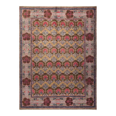 """Arts & Crafts, One-of-a-Kind Hand-Knotted Area Rug - Light Gray, 9' 3"""" x 11' 10"""" - 9' 3"""" x 11' 10"""""""