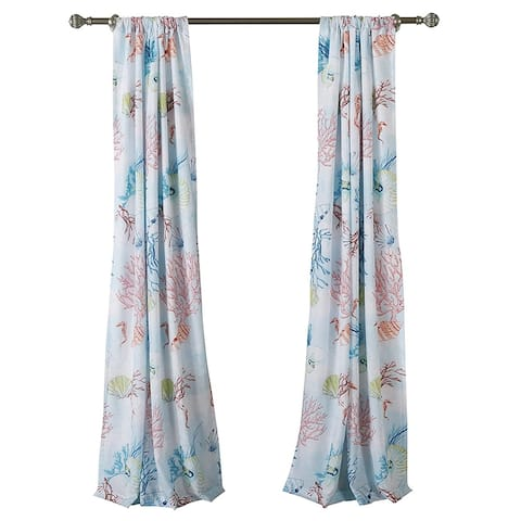 Polyester Panel Pair with Coral Prints and 2 Tie Backs, Multicolor