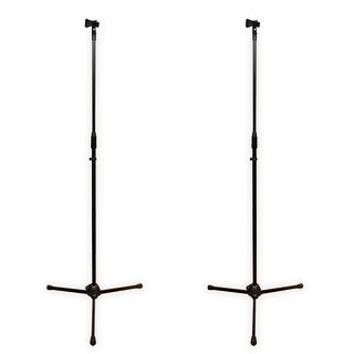 Podium Pro MS2 Adjustable Steel Microphone Stands with Clamp Mic Clips 2 Mic Stand Set MS2SET1-2S
