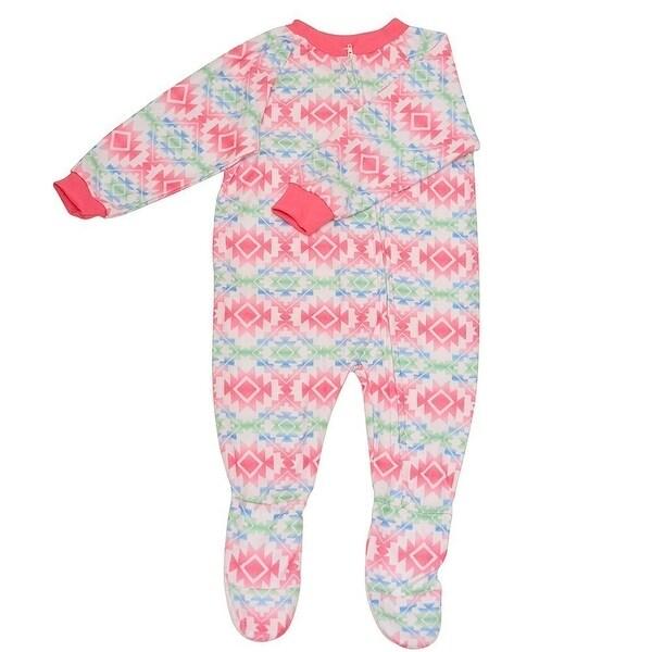 Mon Petit Baby Girls White Tribal Aztec Zipper Footed Sleeper Pajama