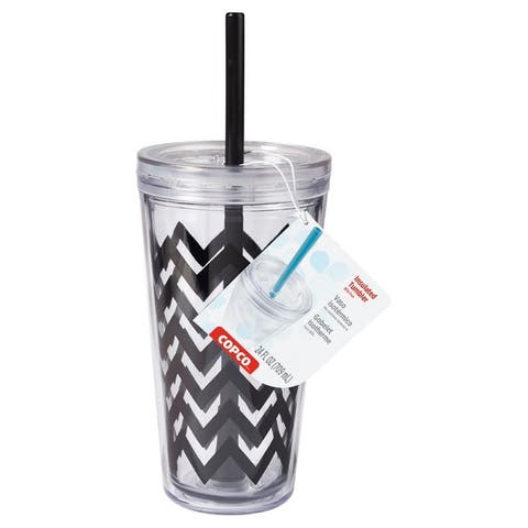 """Copco Minimus """"Chevron"""" Design Tumbler With Removable Straw And Double Wall Insulation - BPA Free Plastic 24 Oz - Black Clear"""