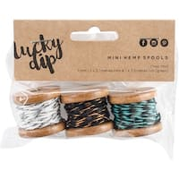 Lucky Dip Mini Spool Hemp Cord 1.0Mm 3/Pkg-Choc-Mint, (2) 2.7M & (1) 3.5M