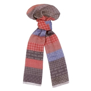 Moschino DM1 D1204/1 Red/Blue Signature Pattern Scarf