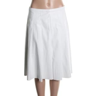Calvin Klein Womens A-Line Skirt Faux Leather Box Pleat - 10