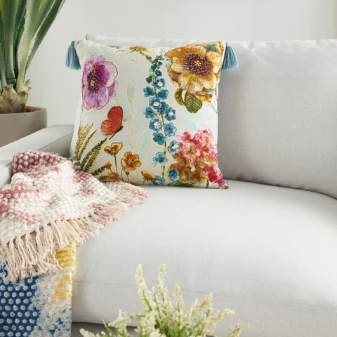 "Mina Victory Sofia Contemporary Floral Embroidered Multicolor Throw Pillow 18"" x 18"""