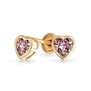 Bling Jewelry 14K Pink CZ Heart Baby Screw Back Studs
