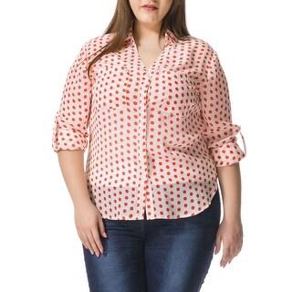 Allegra K Women's Plus Size Dots Convertible Sleeve Portofino Shirt - White