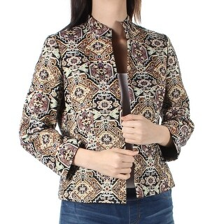 Womens Brown Printed Suit Jacket Size 2