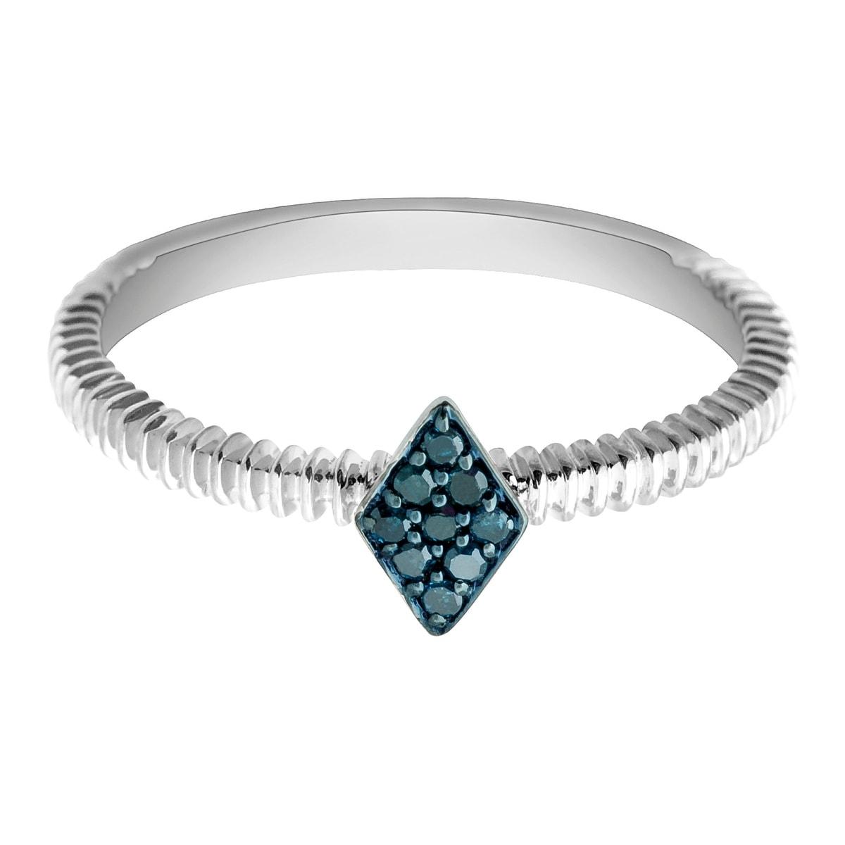 Prism Jewel 0.06Ct Round Blue Diamond Stylist Ring - Thumbnail 0