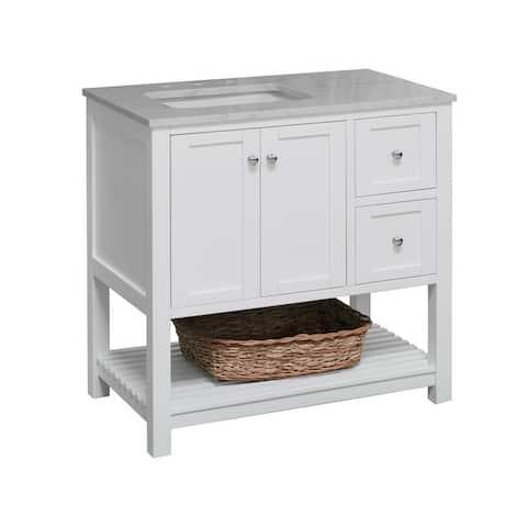 "KitchenBathCollection Lakeshore 36"" Bathroom Vanity with Engineered Carrara Top"