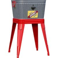 Rustic Washtub Beverage Stand With Bottle Opener