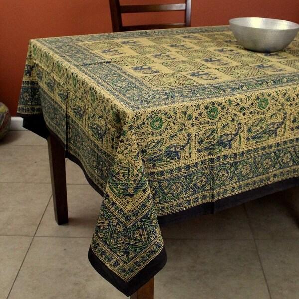 Handmade Elephant Batik Block Print Tablecloth Rectangular Cotton 60x90 Inches in three shades - Green Brown & Gray