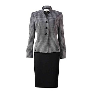 Le Suit Women's Cannes Mandarin Woven Skirt Suit - BLACK/WHITE (2 options available)
