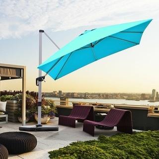 10 Ft 360 Degree Tilt Aluminum Square Patio Offset Cantilever Umbrella, Cross base Only (Turquoise)