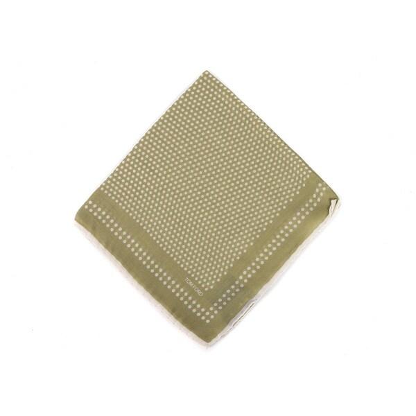Tom Ford Mens Green Polka Dot Wool Blend Pocket Square One Size