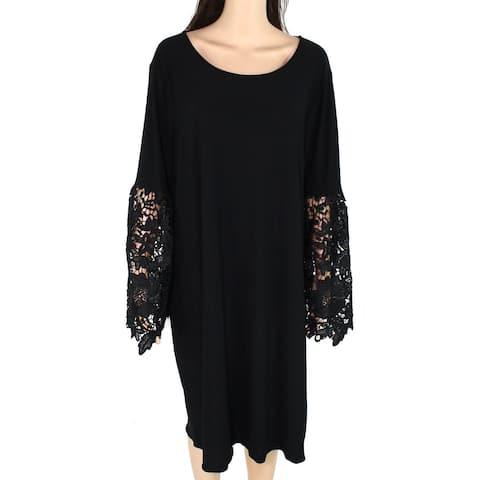 Alfani Women Dress Jet Black Size 20W Plus Sheath Floral Crochet Sleeve